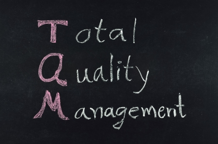 total quality management (TQM) concept written on blackboard