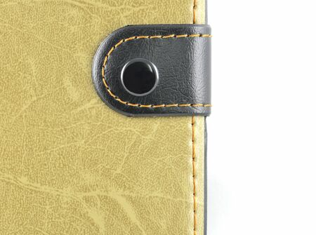 close up of leather wallet on white background photo
