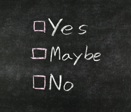 yes, no,maybe and check boxes drawing with white chalk on blackboard Stock Photo - 18389033