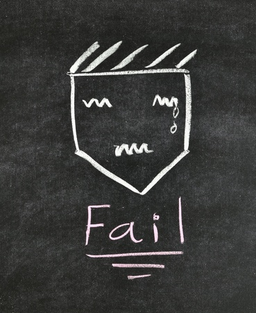 fail and unhappy face written on blackboard photo