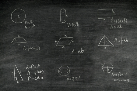 mathematics formula of geometric shape written on blackboard photo