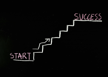 climbing the stairs to success drawn on a chalkboard