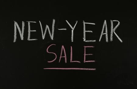 newyear: new-year sale drawing on blackboard