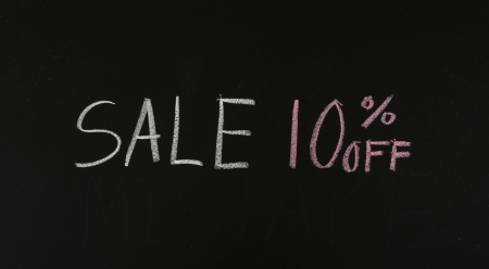 sale 10% off drawing on blackboard photo