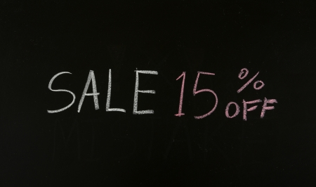 sale 15% off drawing on blackboard Stock Photo