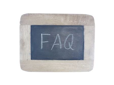 FAQ-frequently ask question,written with chalk on blackboard,isolated on white background photo