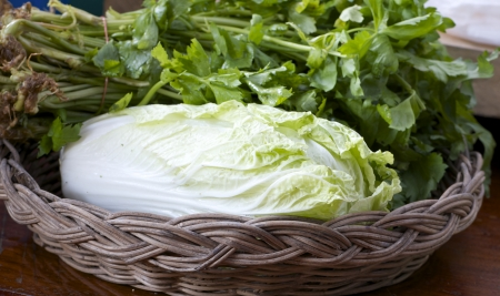 lettuce head on basket photo