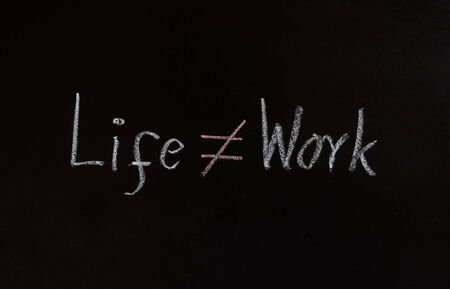 Life and work concept on blackboard  photo