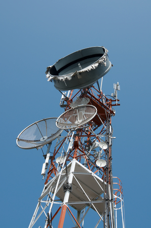telco: Communication tower against blue sky