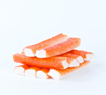 imitation: imitation crabmeat on white background Stock Photo