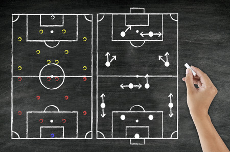 hand writing football tactic witk chalk on blackboard photo
