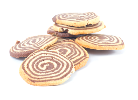 spiral cookies on white background