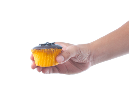 hand holding chocolate cupcake on white background