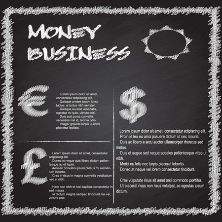 money business infographic writing on blackboard Vector