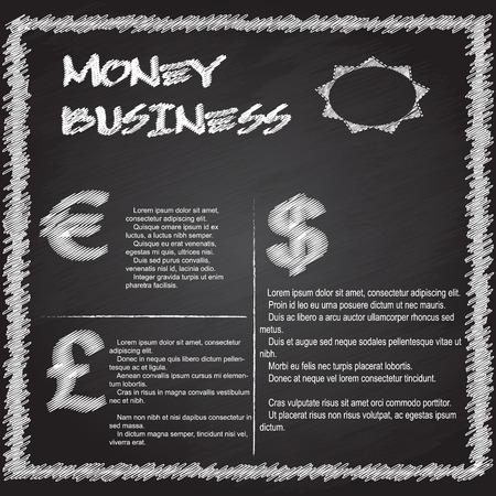 money business infographic writing on blackboard Vector