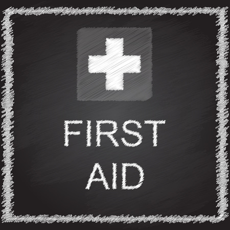 FIRST AID sign on blackboard Illustration