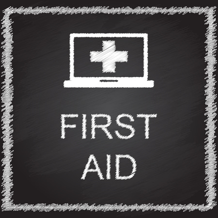 first aid sign: FIRST AID sign on blackboard Illustration