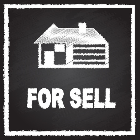 sell house: house for sell sign on blackboard Illustration