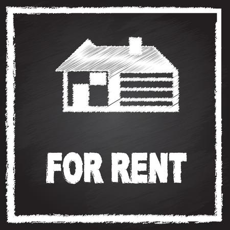 house for rent: house for rent sign on blackboard Illustration