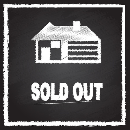 house sold out sign on blackboard Vector
