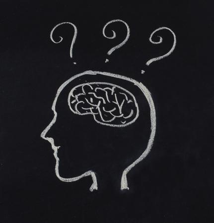 human head,brain and question mark in idea concept on blackboard