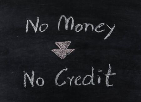 with no money: no money no credit text on blackboard