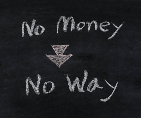 no way: no money no way text on blackboard