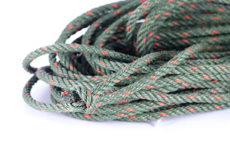 close up of rope on white background
