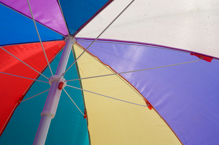 Close up bottom view of colorful umbrella