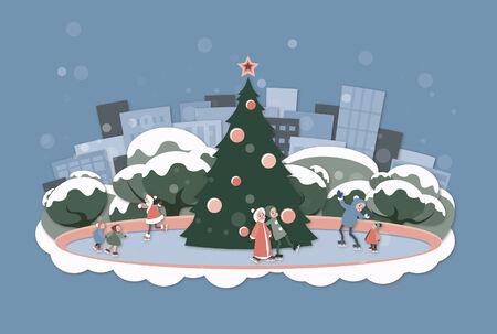 skating rink: Holiday ice skating rink