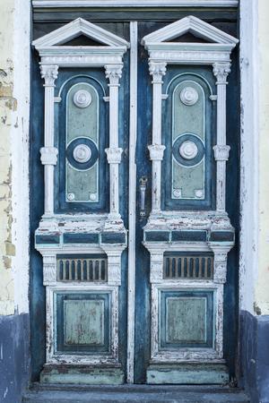 Retro architexture element old aged weathered door texture Stock Photo
