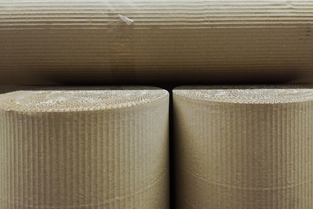 Roles of corrugated card board paper close up Stockfoto