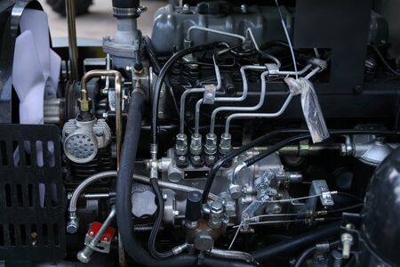 Element of engine system of new modern diesel agricultural tractor or combine or harvester