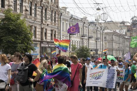 Kyiv, Ukraine June 23, 2019. The annual Pride Parade LGBT. Gay Pride Parade with rainbow colors and flags in the city 新聞圖片