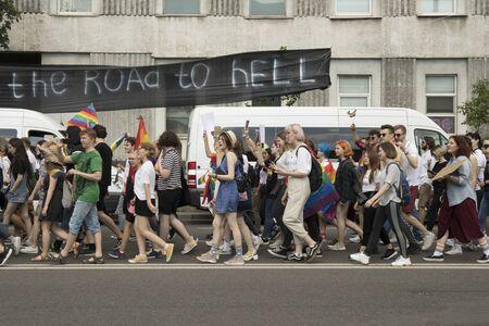 KyivUkraine - June 23, 2019: The annual Pride Parade LGBT. Gay Pride Parade go against radicals banner 新聞圖片