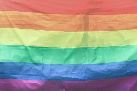 Textured light rainbow LGBT Flag for copy space