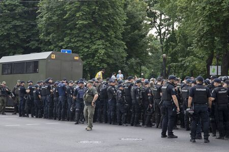 KyivUkraine - June 23, 2019: battalion of police officers in body armors in the city