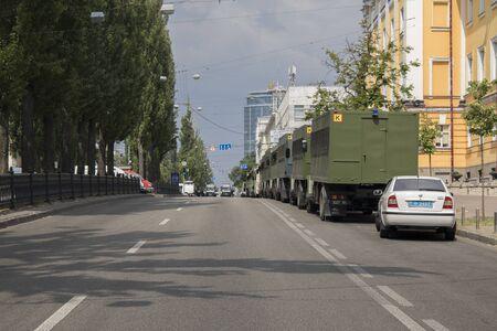 KYIV, UKRAINE - July 23, 2019: Police patrol cars providing security in the city