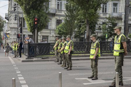 KyivUkraine - July 23, 2019: Ukrainian soldiers of Special forces on a square in the city