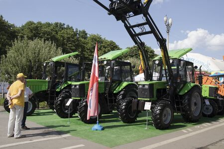 KyivUkraine - 14 June 2019: Modern agricultural machinery exhibition. Publikacyjne