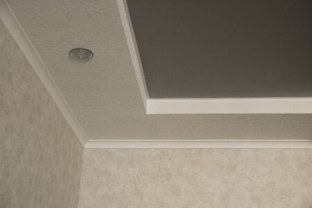 Gypsum board on grey ceiling with lighter. Ceiling design