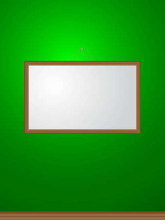 picture frame on green wall Illustration
