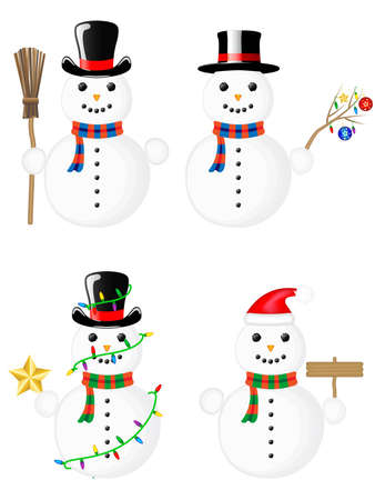 four type of snowman Stock Vector - 11480666