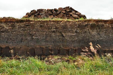 turba: horizontal de la excavación de turba en harris, Escocia