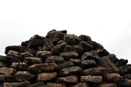 turba: Pila de turba excavación en Harris, Escocia