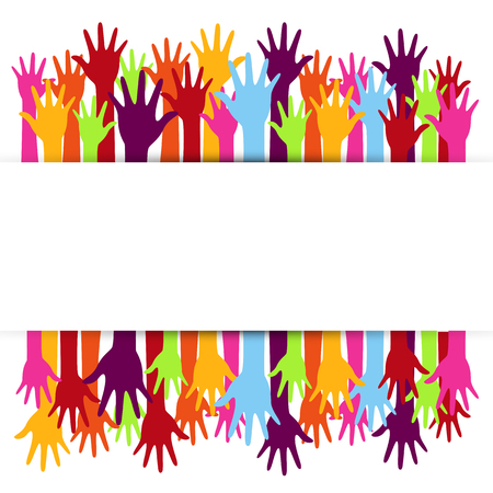 Diversity concept design, hands up and down Illustration