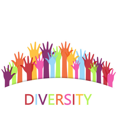 Diversity concept design, hands up with text