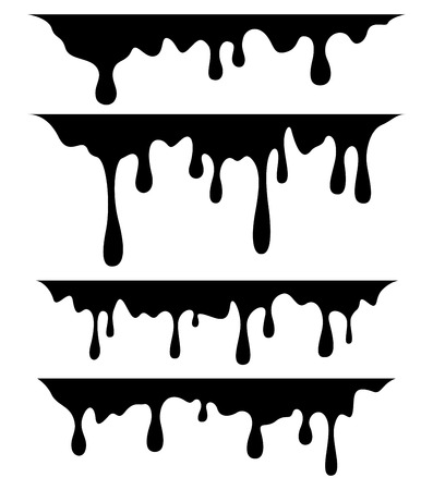 Black dripping paint, on white background