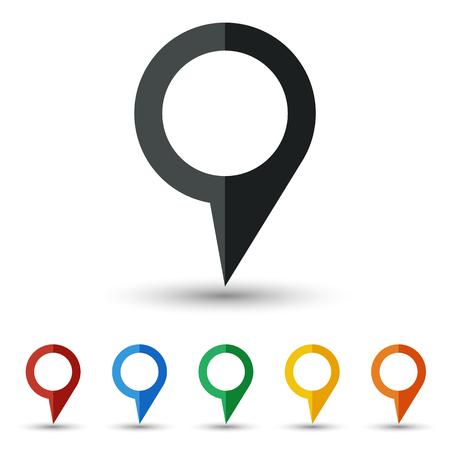 Map pin icon set flat design