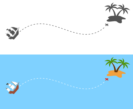 The pirate ship sailing route to the island